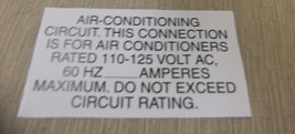 """RV Safety Decal """"Air Conditioning Circuit """" TL5002 UPC:710534474078 - $6.44"""