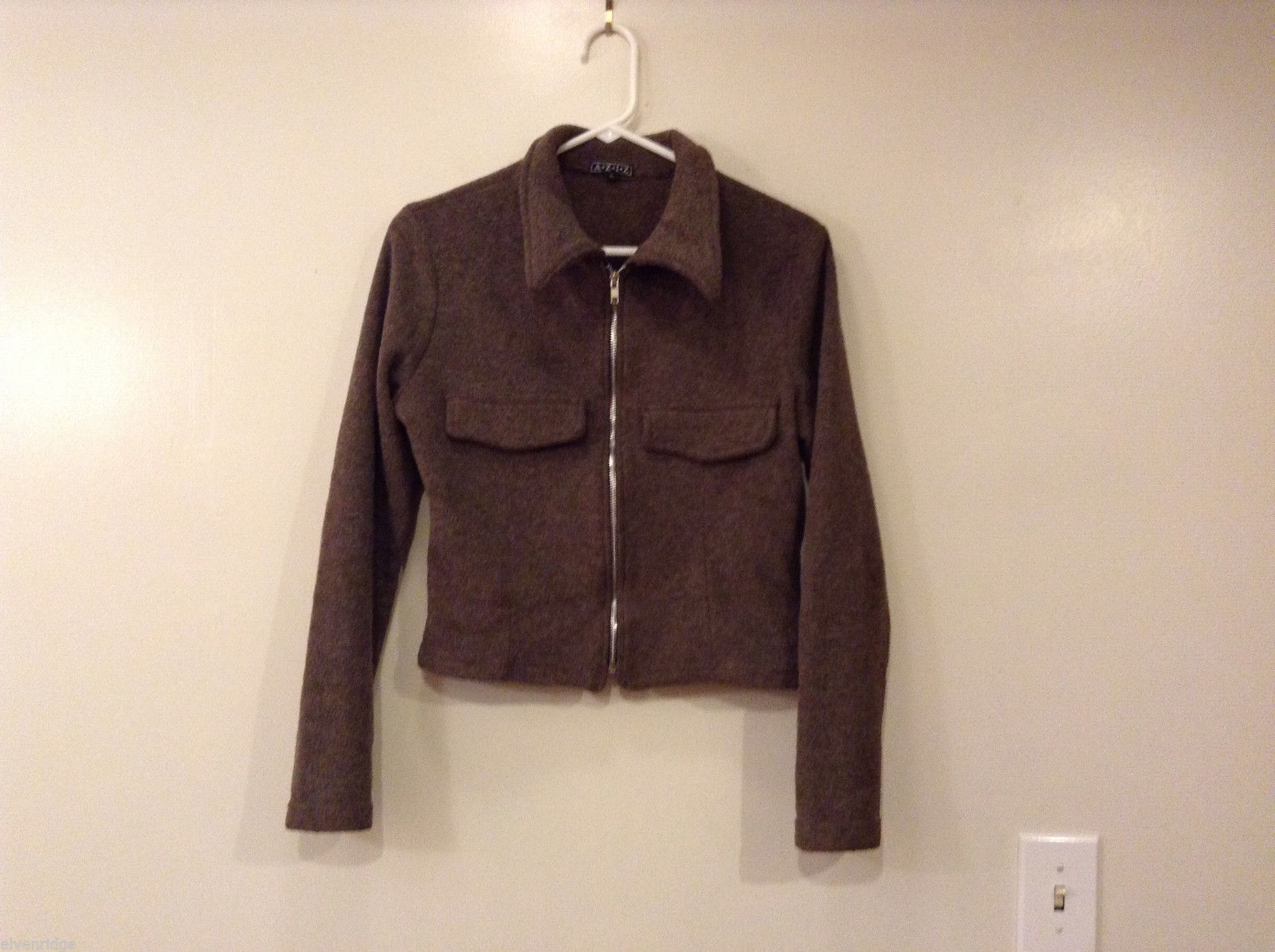 AZIZ Women's Size L Short Cropped Jacket Brown w/ Zipper Front & Chest Pockets