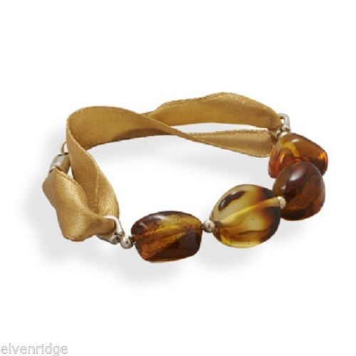 "7"" Ribbon Bracelet with Baltic Amber Sterling Silver"