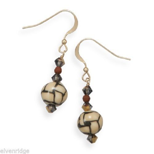 14/20 Gold Filled Earrings with Ceramic Beads Sterling Silver