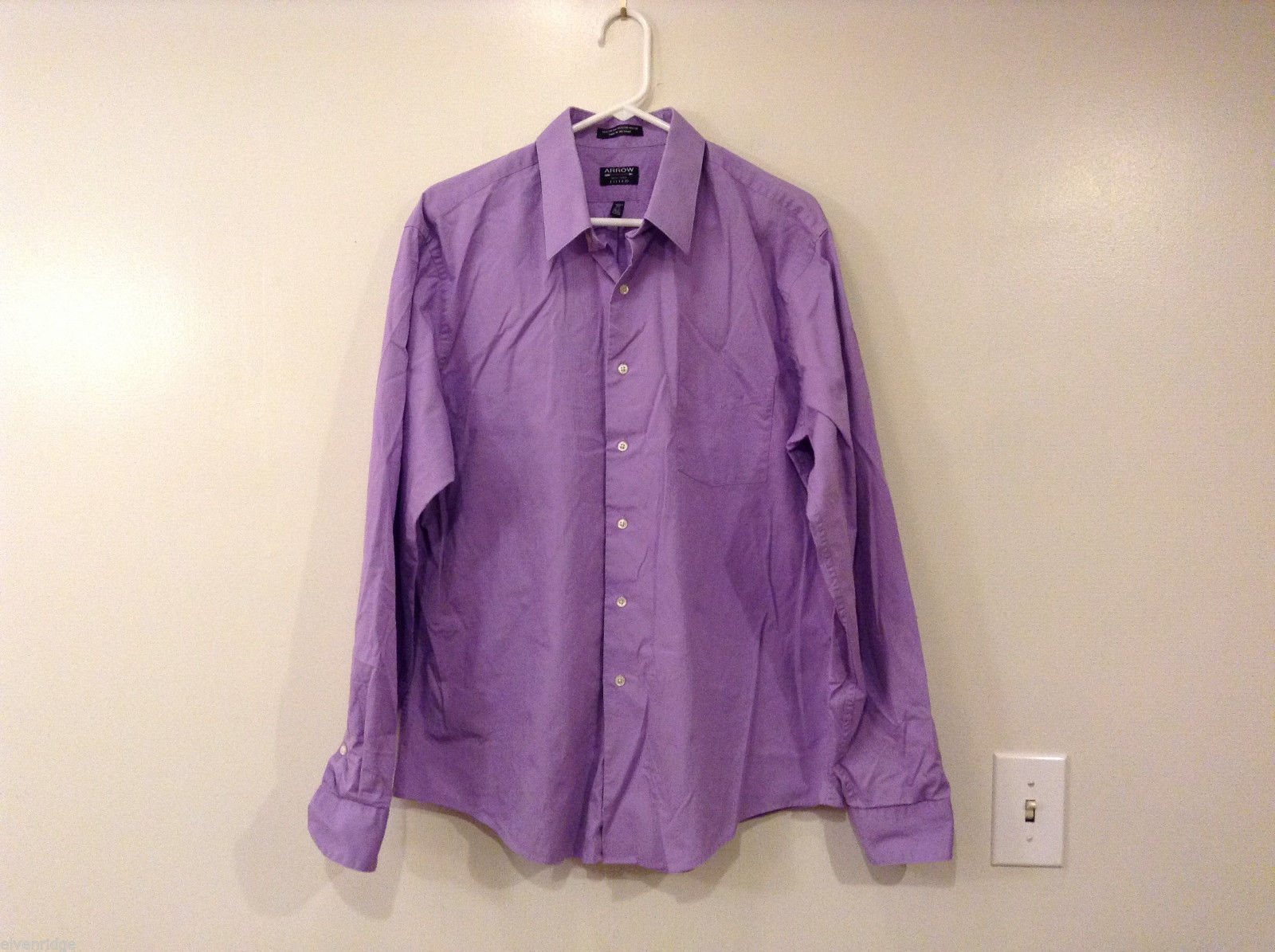 "Arrow Men's Size XL Button-Down Shirt 17.5"" Collar 36/37 Sleeve Striped Purple"