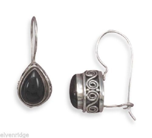 Black Onyx with Scroll Side Design Wire Earrings Sterling Silver