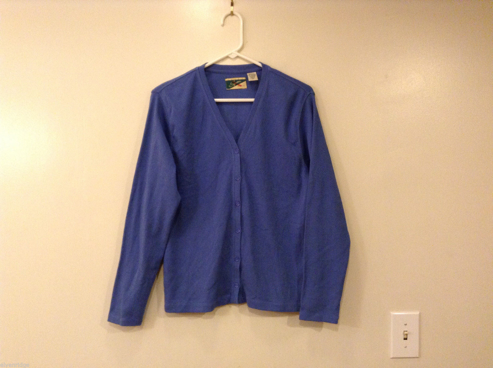 Crest Women's Size M Cardigan Sweater Cornflower Blue V-Neck Button-Down Front
