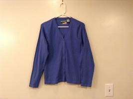 Crest Women's Size M Cardigan Sweater Cornflower Blue V-Neck Button-Down Front