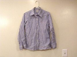 GAP Women's Size S Shirt Button-Down Blouse Top White Cotton w/ Blue Stripes