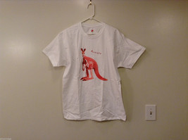 Hanes Unisex L, XL White T-Shirt Tee Red-Orange Kangaroo Australia Graphic Print
