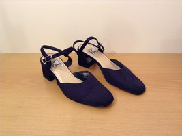 Just Libby Women Size 8.5 Block Heel Sandals Mary-Jane Pumps Midnight Blue Black