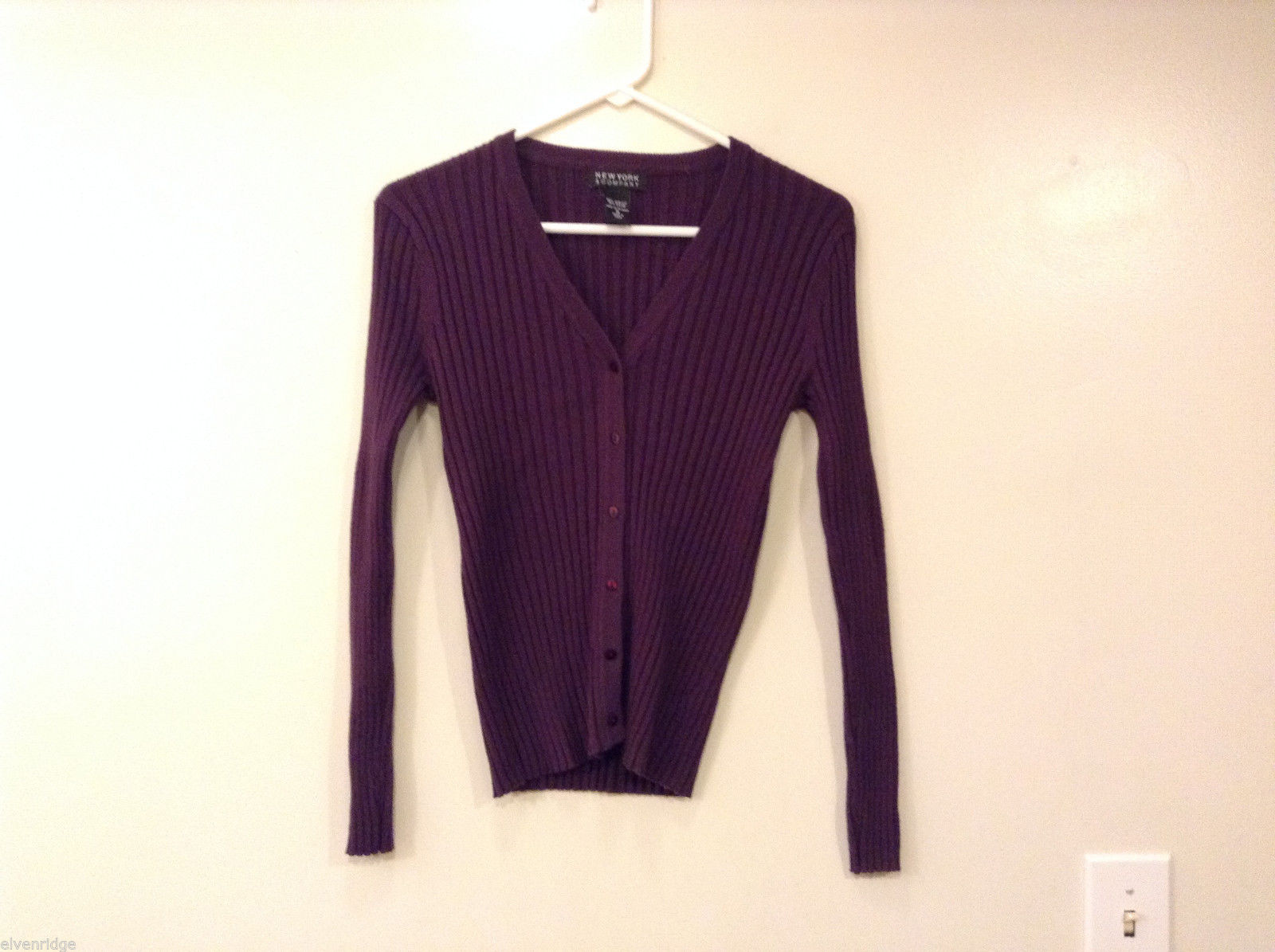 New York & Company Women's Size S Cardigan Ribbed Sweater Purple V Neck-Line