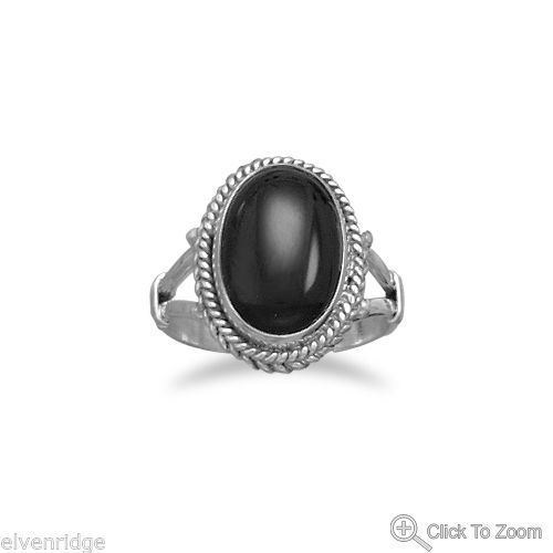 Oval Black Onyx Rope Edge Ring Sterling Silver