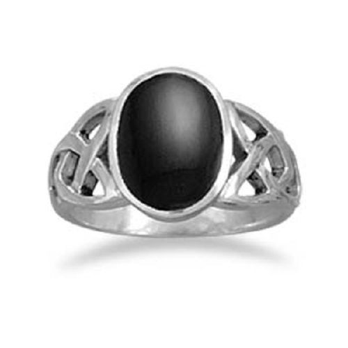 Oval Black Onyx Ring with Celtic Sides Sterling Silver