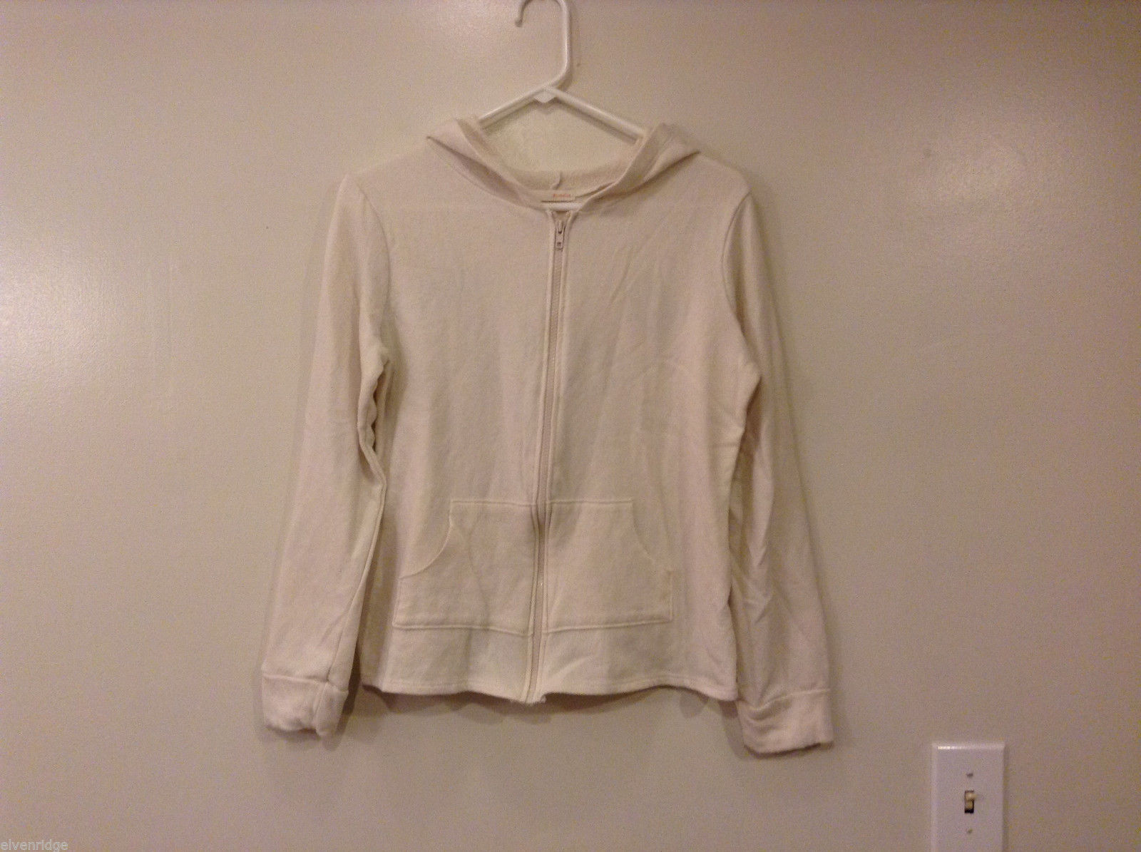 Michelle Women's Size M Hoodie Sweatshirt Panda Graphic Natural White Zipper Zip