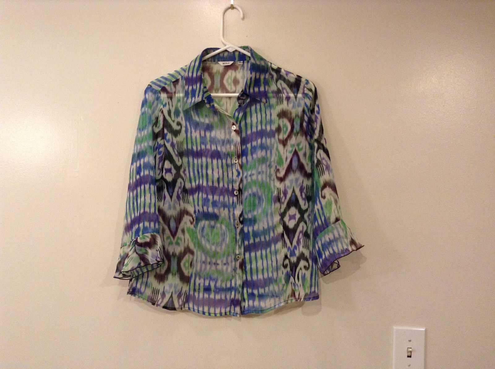 Nicola Women's Size M Button-Down Shirt Sheer Blouse Top Watercolor Blue Green