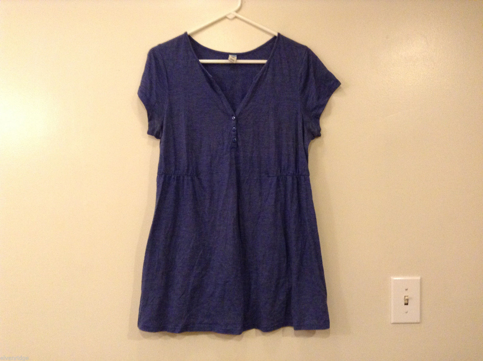 Old Navy Women Maternity Size L Blouse Top T-Shirt Tee Blue V-Neck Short Sleeves