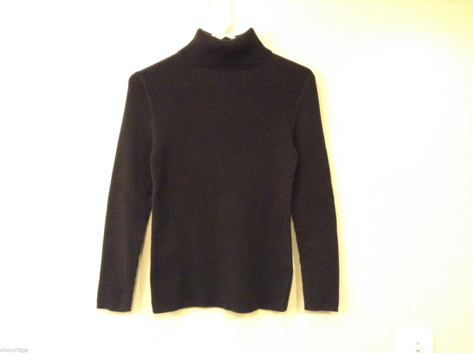 Old Navy Women's Size M Turtleneck Sweater Black Ribbed 100% Cotton Long Sleeves