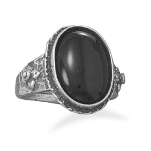 Oxidized Oval Black Onyx Ring Sterling Silver
