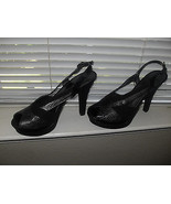 Nine West New Black/Gray Snakeprint Leather Peep-Toe Slingback Platform ... - $38.99