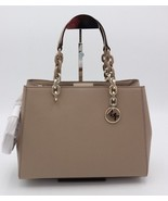 NWT MICHAEL Michael Kors Cynthia Brown Saffiano Leather Satchel Crossbod... - $198.00