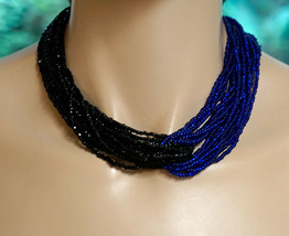 "Multi Strand (20) Glass Seed Bead Choker Necklace Half Blue & Half Black  17"" - $19.90"