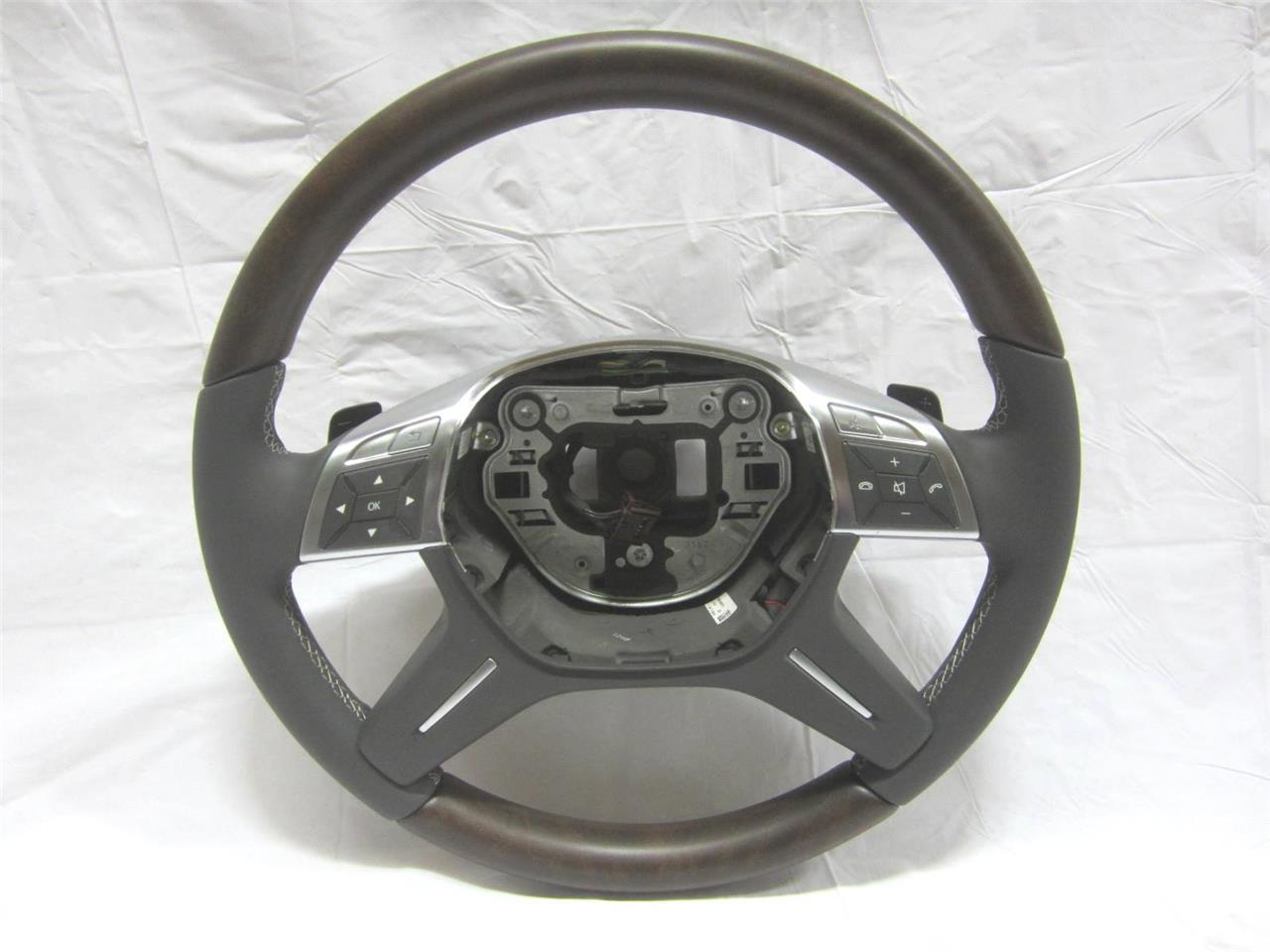 Oem 12 15 mercedes benz m class steering wheel w shift for Mercedes benz wood steering wheel