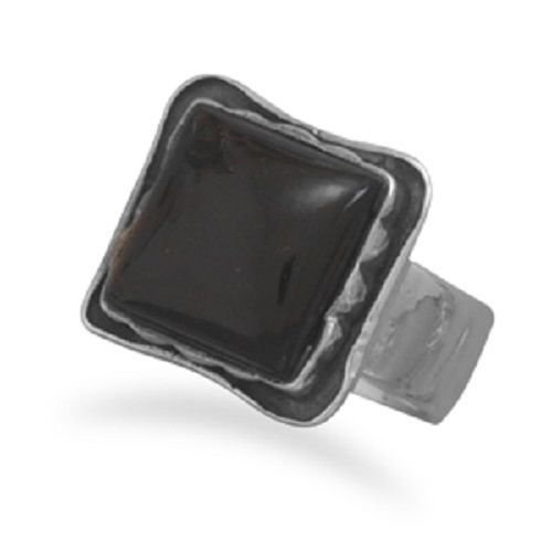 Square Oxidized Black Onyx Ring Sterling Silver