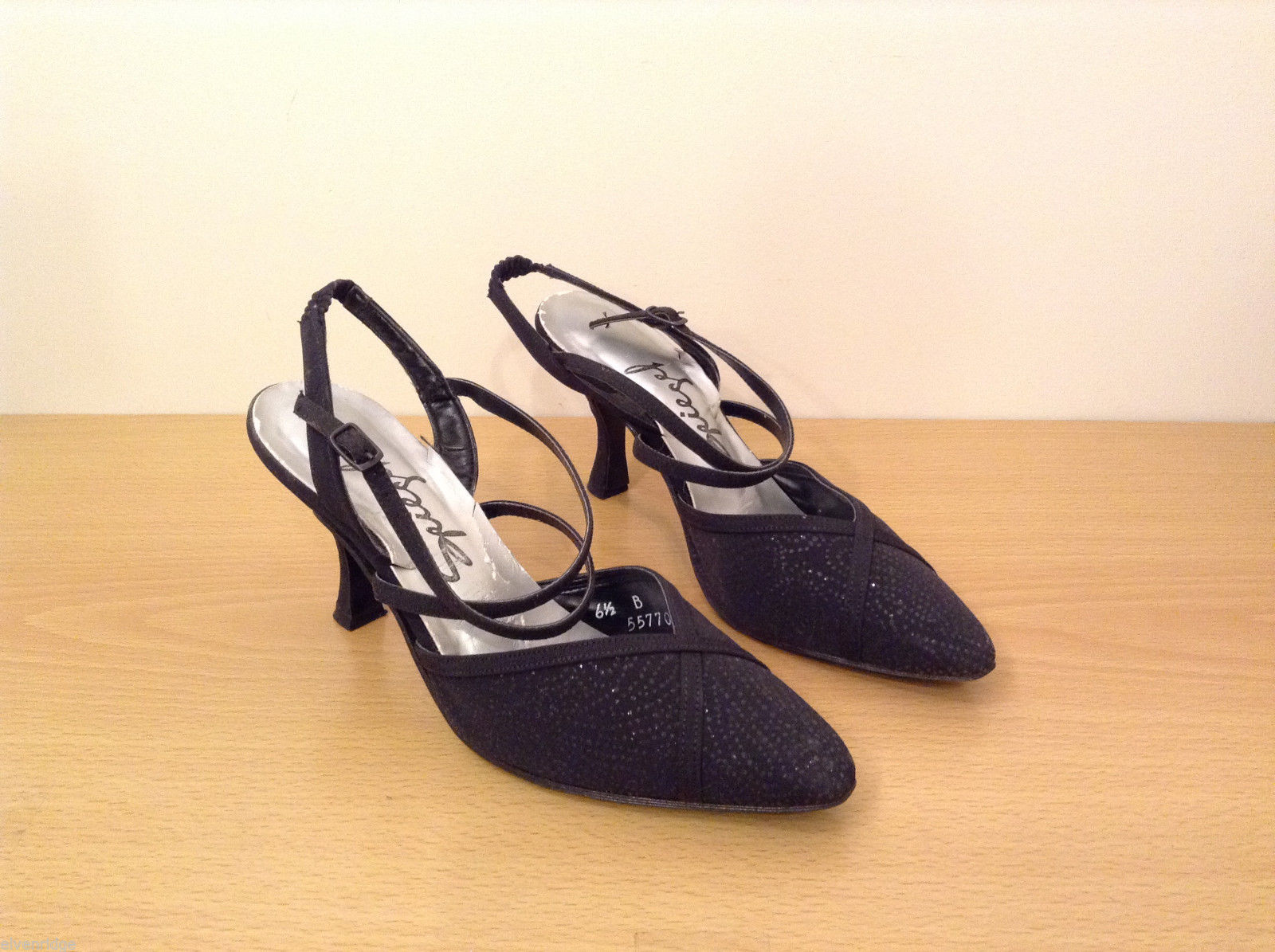 Spiegel Women's Size 6.5 Heels Strappy Sling-Back Pointy Pumps Sparkly Black