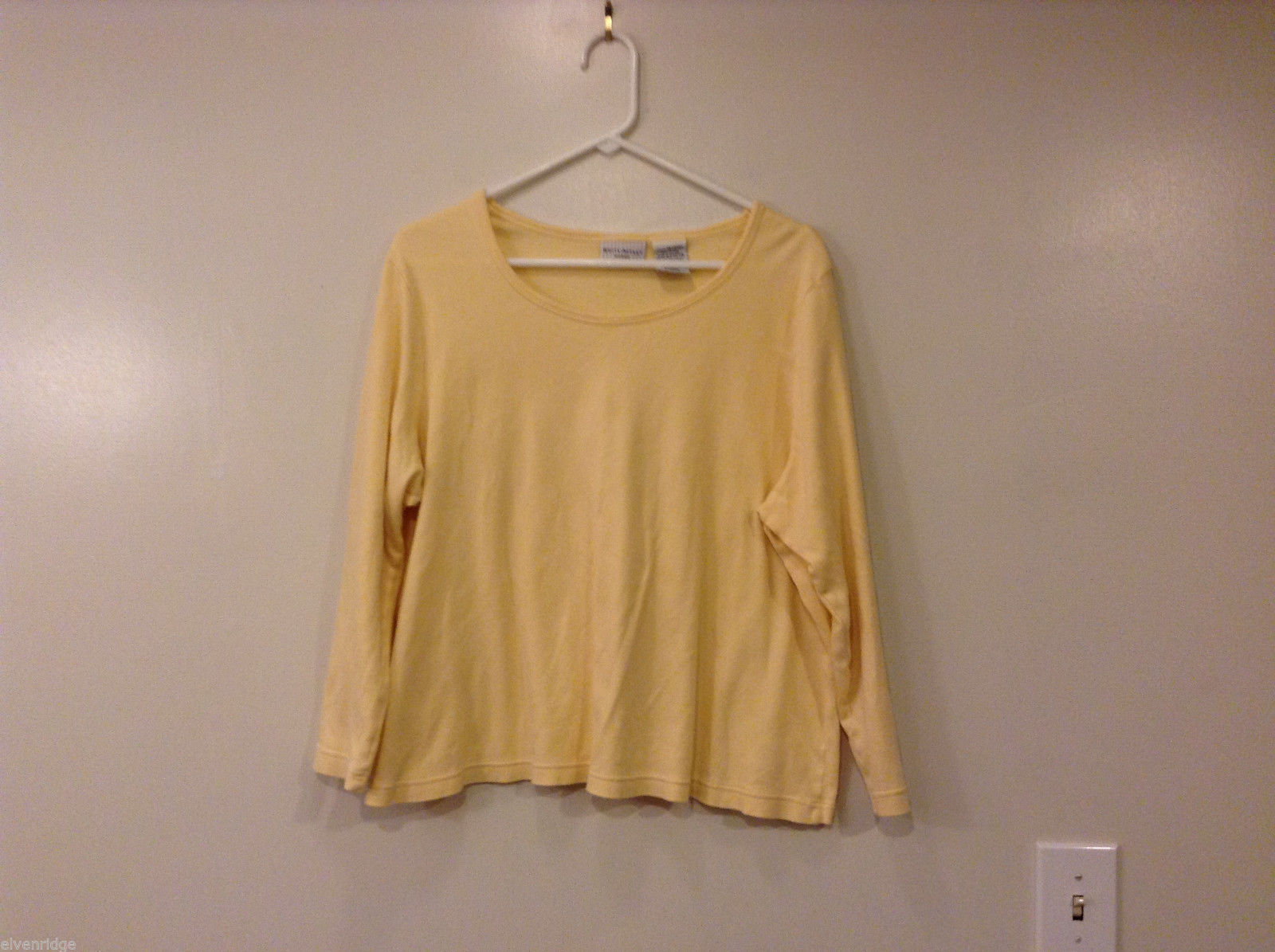 White Stag Women Plus Size 1X 16W T-Shirt Tee Top Warm Lemon Yellow Long Sleeves