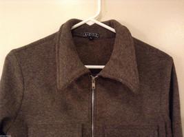 AZIZ Women's Size L Short Cropped Jacket Brown w/ Zipper Front & Chest Pockets image 3