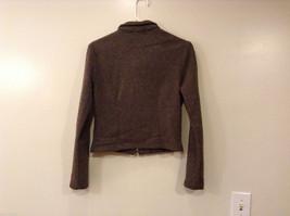 AZIZ Women's Size L Short Cropped Jacket Brown w/ Zipper Front & Chest Pockets image 2