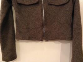 AZIZ Women's Size L Short Cropped Jacket Brown w/ Zipper Front & Chest Pockets image 4