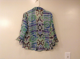 Nicola Women's Size M Button-Down Shirt Sheer Blouse Top Watercolor Blue Green image 2
