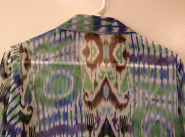 Nicola Women's Size M Button-Down Shirt Sheer Blouse Top Watercolor Blue Green image 5