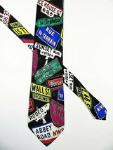 Addiction Silk Necktie Famous Street Signs Theme Colorful Hand Made 60.5... - $14.84