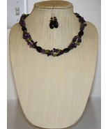 Onyx with Amethyst, Peridot, & Garnet Chips Necklace and Earring Set - $49.00
