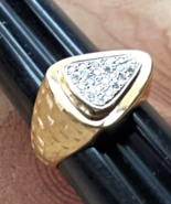 MEN's DIAMOND ARROW>HEAD RING heavy 14K GOLD - Florentine Finish (.30ctw) - $875.00
