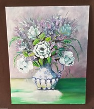 Original oil painting still life floral lilacs in a white pitcher - $70.11