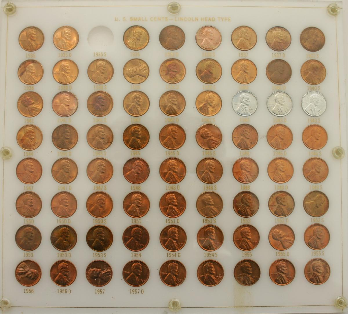 U.S. Small Cents - Lincoln Head Type - BU 1935-1957-D in Capitol Plastic Hold...
