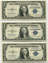 (3) 1935G $1 Silver Certificate WITH MOTTO Choice to Gem Uncirculated Ra... - $125.00