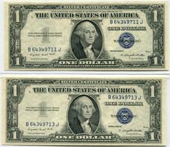 (2) 1935G $1 Silver Certificate, Near sequential – Choice to Gem Uncircu... - $45.00