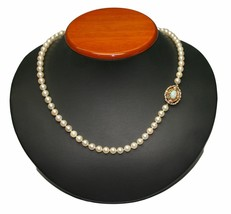 Saltwater Cultured 7mm Pearl Necklace with 14k Yellow Gold & Opal Clasp ... - $995.00