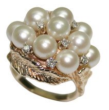 14k Yellow Gold 0.14 ct Diamond and Cultured Pearl Women's Ring Size 6.5 - $1,295.00