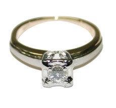 14k Multi-Tone Gold Vintage 0.21ct Diamond Solitaire Engagement Ring Size 4 - $495.00
