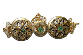 18k Yellow Gold Victorian Emerald Women's Pin - $975.00