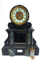 Mantle Clock 1900 With Marble Style Pillars - $1,250.00