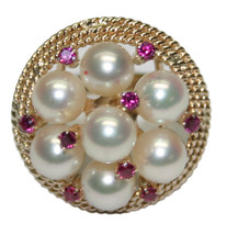14k Yellow Gold Women's Ring with 6 Pearls & 0.35 ct Red Spinel, Size 6.5 - $249.00