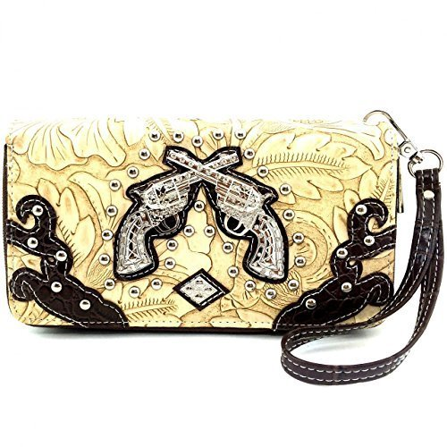 Western Rhinestone Pistols Zip Around Wallet Clutch Purse Wristlet (Brown)