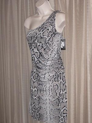 PLANET GOLD Snake Print Gray Black One Shoulder Mini Clubwear Stretch Dress S/M