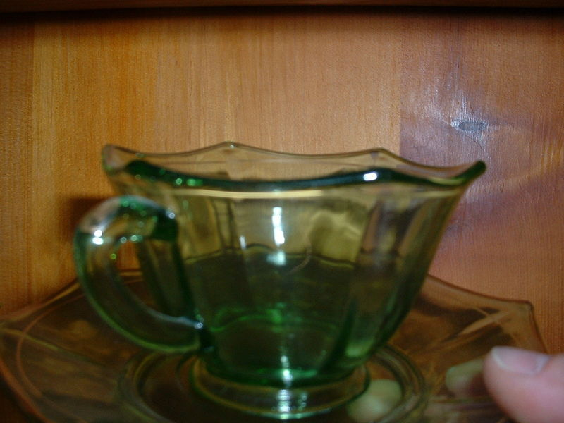 Vaseline (Uranium) glass cup and saucer w/ and 50 similar ...