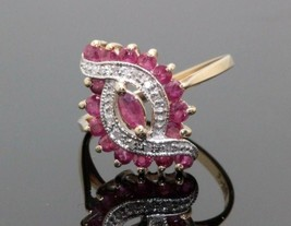 Women's Estate 10K Yellow Gold Cocktail Ruby Diamond Ring Swirl Cluster ... - $222.75
