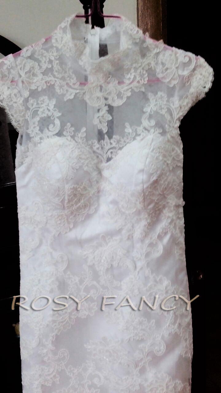 Rosyfancy mandarin collar cap sleeves sheath tea length for Sheath wedding dress with cap sleeves