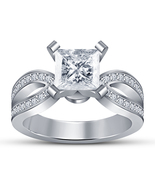 Diamond Engagement Wedding Ring 10k White Gold Plated Solid 925 Sterling Silver - $75.99